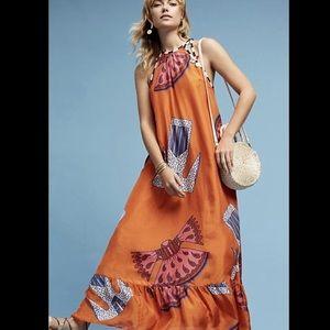 Anthropologie Silk Kimono Print Halter Maxi Dress